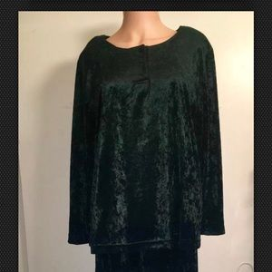 Green velvet long Skirt & long sleeve Top Set Sz S